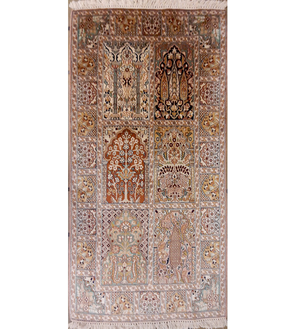 Kashmir Carpet Hand-knotted Silk x Cotton Size 2.5ftx5ft