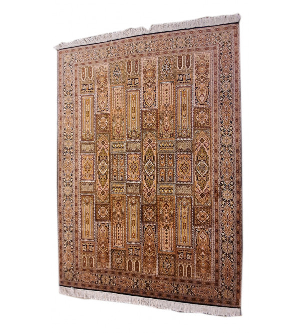 Kashmir Carpet Hand-knotted Silk x Cotton Size 5ftx7ft