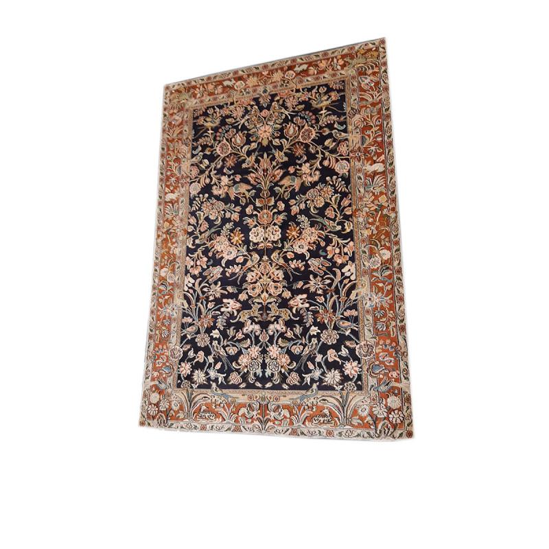 Kashmir Carpet Hand-knotted Silk x Silk Size 2.5ftx4ft