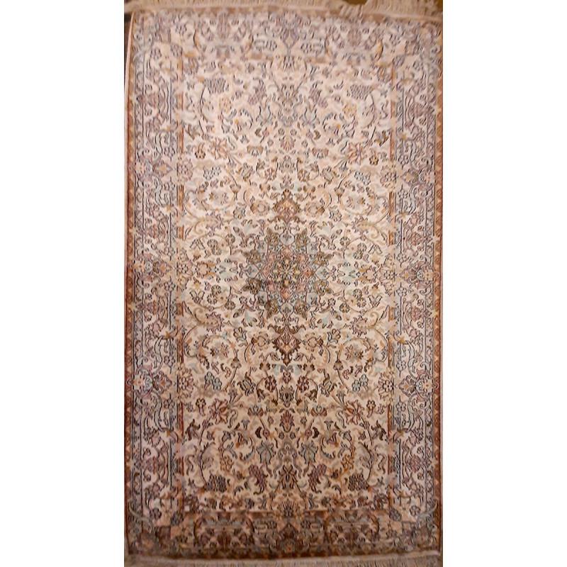 Kashmir Carpet Hand-knotted Silk x Cotton Size 3ftx6ft