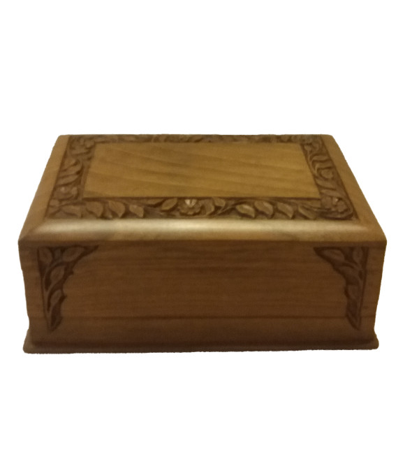 BOX walnut 9x6 inch carved