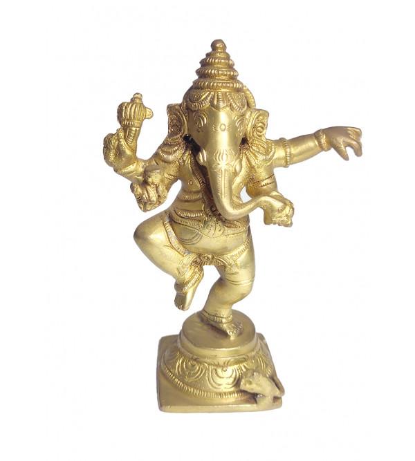 Ganesha Dancing Handcrafted In Brass