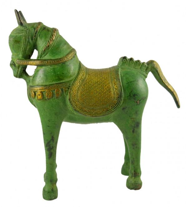 HANDICRAFT NORTH INDIAN BRASS HORSE 9 INCH
