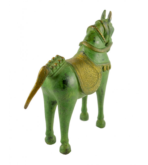 HANDICRAFT NORTH INDIAN BRASS HORSE 9 INCH