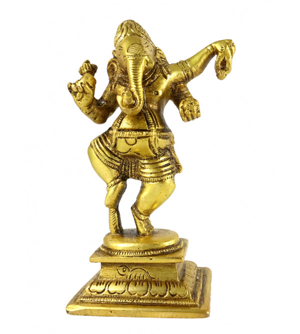 HANDICRAFT BRASS GANESH DANCING 4.5 INCH