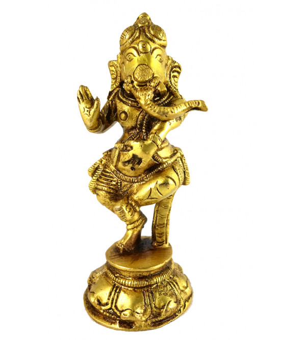 HANDICRAFT BRASS GANESH DANCING 5 INCH
