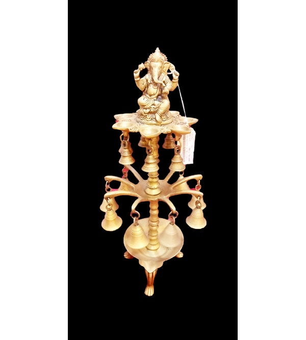 Ganesha On Lamp Handcrafted In Brass Size 18 Inches