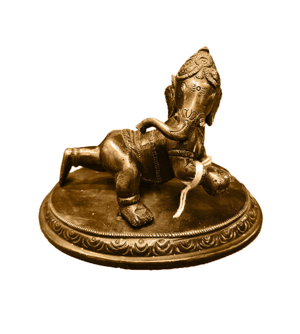 Baby Ganesh On Stand Handcrafted In Brass Size 5 Inches