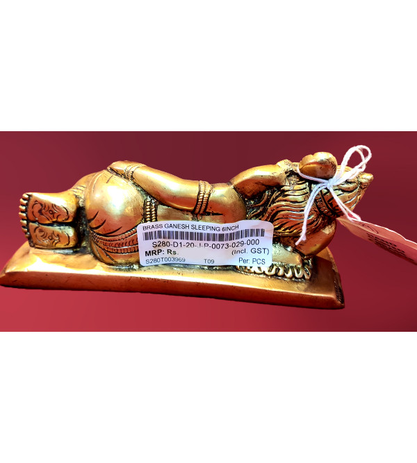 Lord Ganesh Sleeping Handcrafted In Brass Size 6 Inches