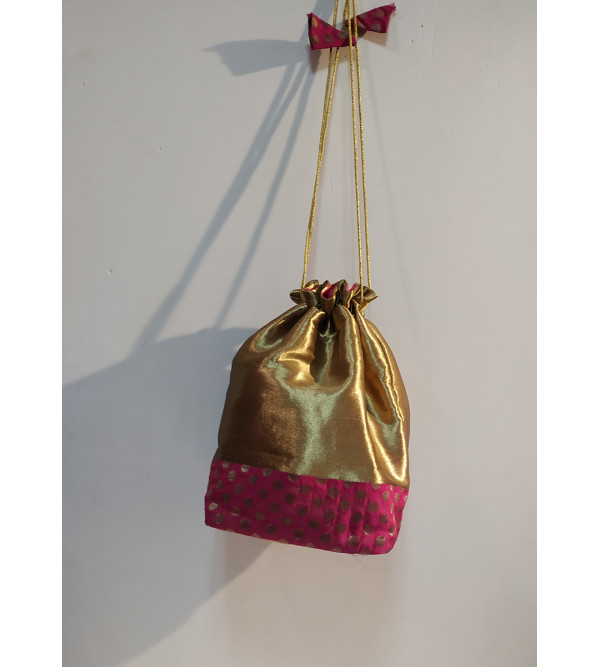 Brocade Potli Bag With Assorted Designs And Color Size 9x6 Inch