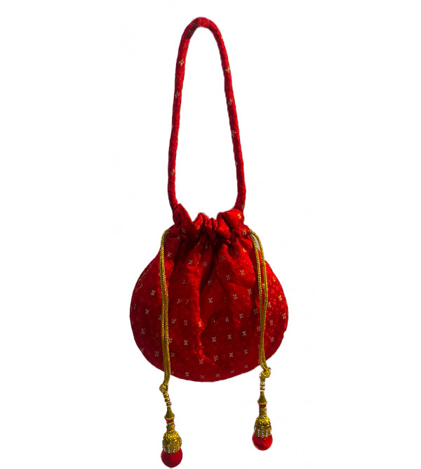 CCIC Silk Potli Bag With Assorted Designs And Color Size 8x6 Inch
