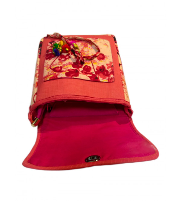 CCIC Cotton Sling Bag With  Assorted Designs And Colors Size 10x4 Inch