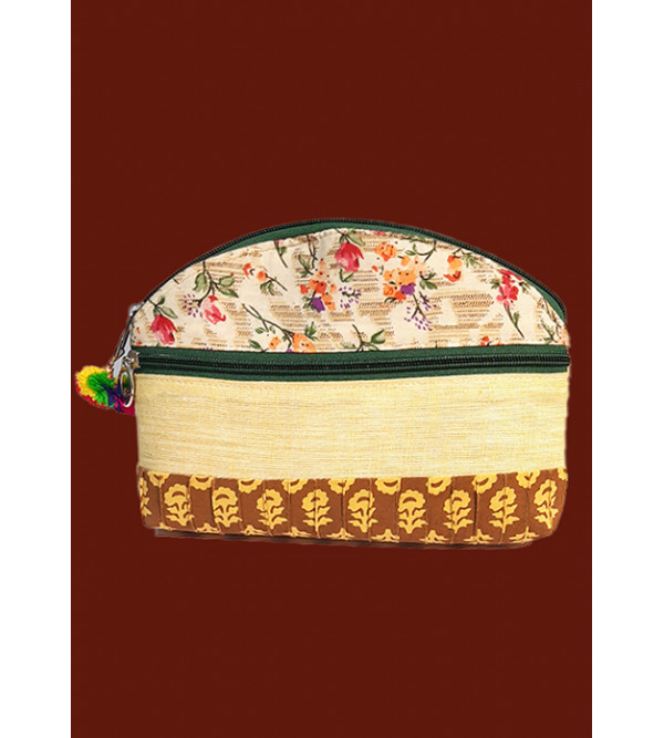 CCIC Cotton Zipper Bag With Assorted Designs and Colors Size 8x6 Inch