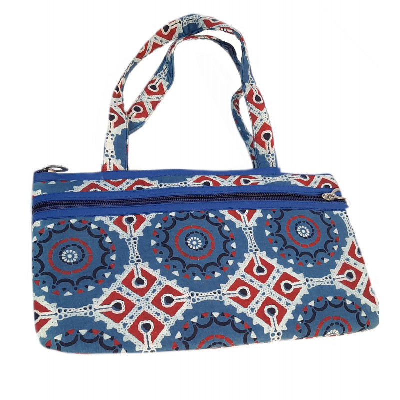 CCIC Cotton Strapped Zipper Bag With Assorted Designs and Colors Size 10x6 Inch