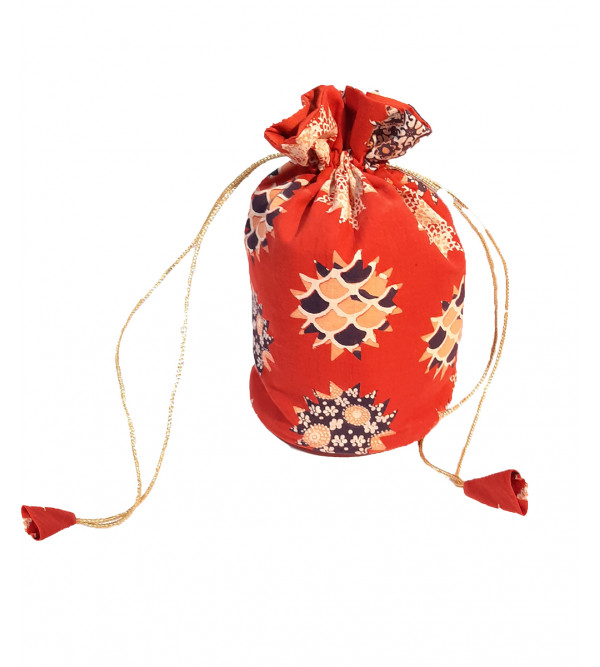 CCIC Cotton Potli Bag With Assorted Designs And Color Size 9x6 Inch