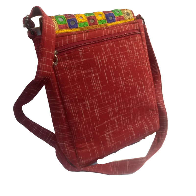 CCIC Cotton Sling Bag With Mirror Work Size 10x6 Inch