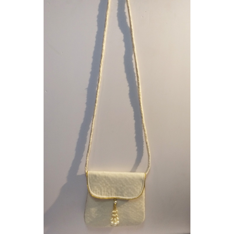 Banaras Cotton Sling Bag With Golden Borders Size 9x5 Inch