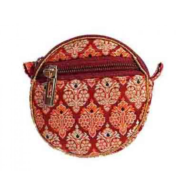 CCIC Brocade Zipper Bag With Assorted Designs and Colors Size 6x6 Inch