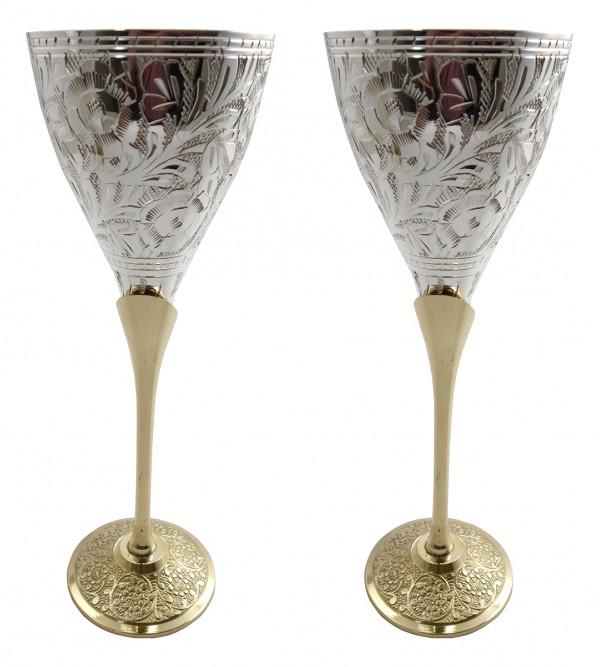 Handicraft Brass Silver Plated Goblet Set 4 Pieces