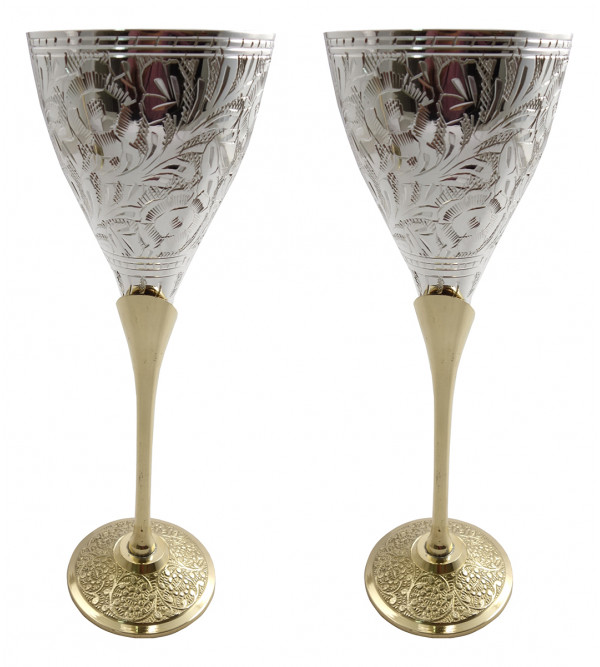 Handicraft Brass Silver Plated Goblet Set 4 Pieces