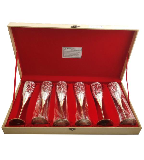 Handicraft Brass Silver Plated Goblet Set 6 Pieces