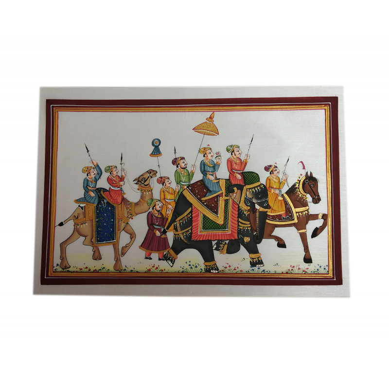 Procession silk painting