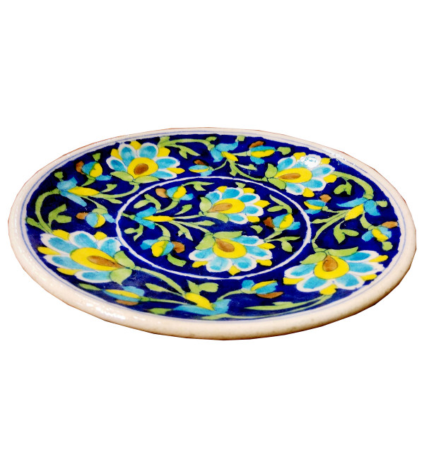 PLATE BLUE POTTERY 7 inch floral