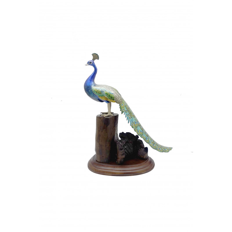 COPPER ENAMELED BIRD Peacock Long Tail 6 Inch