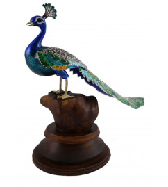 COPPER ENAMELED BIRD 3.5 Inch PEACOCK LONGTAIL
