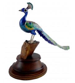 COPPER ENAMELED BIRD 2.5 Inch PEACOCK LONGTAIL