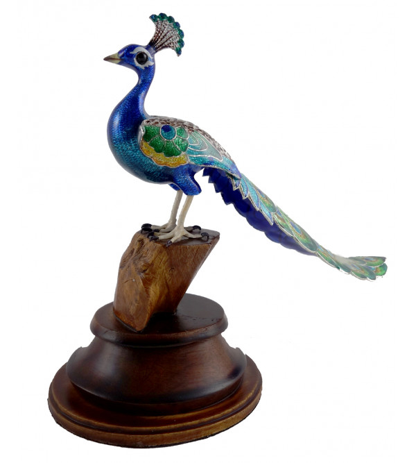 COPPER ENAMELED BIRD 2.5 Inch PEACOCK LONGTAIL