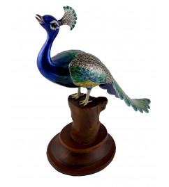 COPPER ENAMELED BIRD 5 Inch PEACOCK LONGTAIL