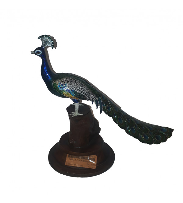 COPPER ENAMELED PEACOCK 10x12.5x4.5 INCH