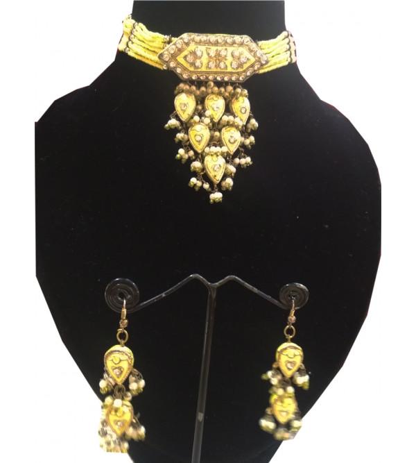 Enameled Kundan Silver Jewellery