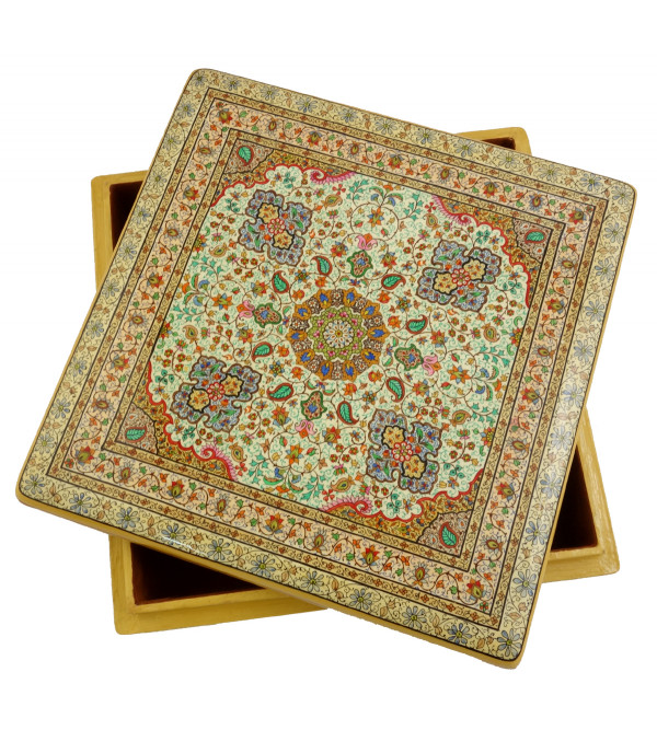 HANDICRAFT PAPER MACHIE FLAT BOX FINE WORK ASSORTED CARPET DESIGN (12X12 INCH)