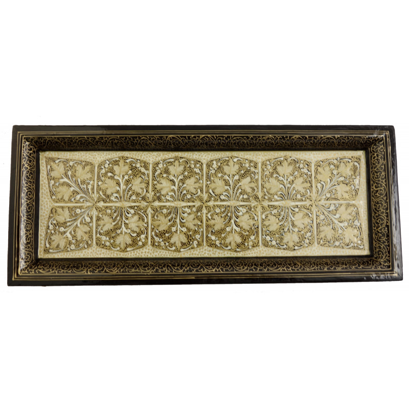 Handicraft paper Machie Assorted Designs Tray 12x5 Inch