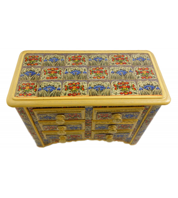 Handicraft Paper Machie 8X5X12 INCH BOX WITH 6 DRAWERS FINE WORK Assorted Designs and Colour