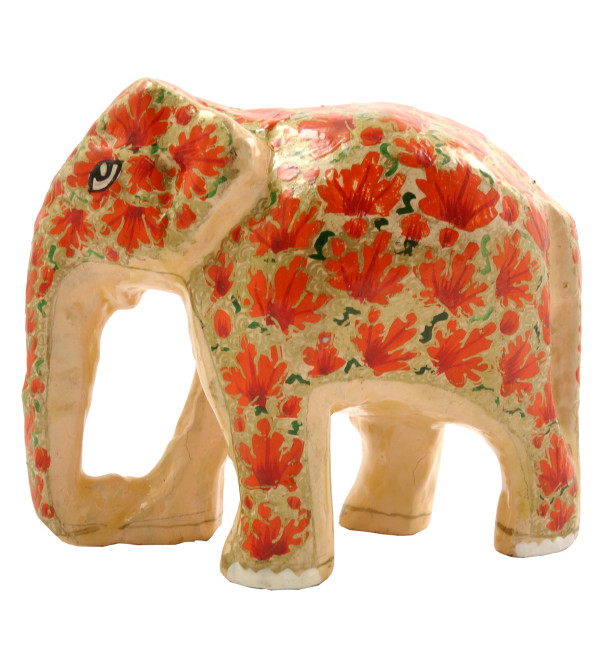HANDICRAFT PAPER MACHE ELEPHANT 3 INCH ASSORTED COLOR AND DESIGNS