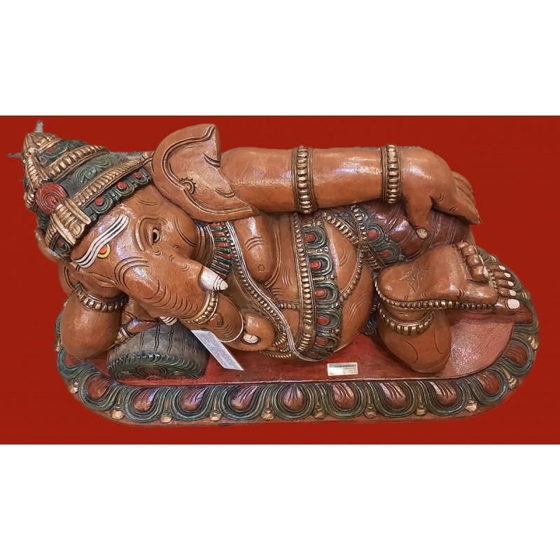 Sleeping Ganesha Handcrafted In Vaghai Wood Size 36x24x18 Inches