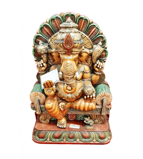 Ganesha Handcrafted In Vaghai Wood Size 31 Inches