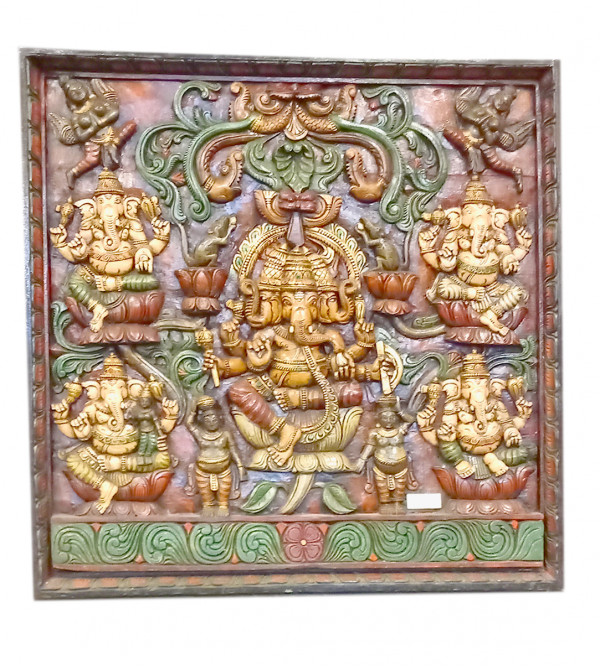 Ganesha Handcrafted In Vaghai Wood Size 36X36 Inches