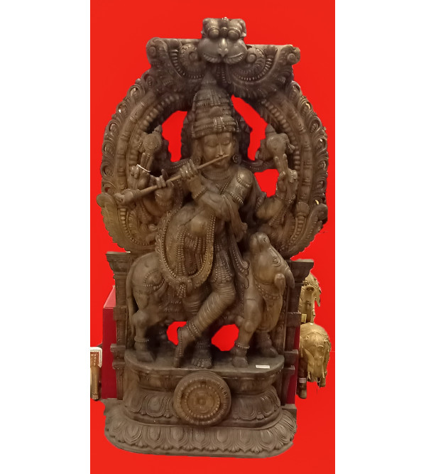 72X42X12 COW KRISHNA IN VAGHAI WOOD NATURAL FINISH