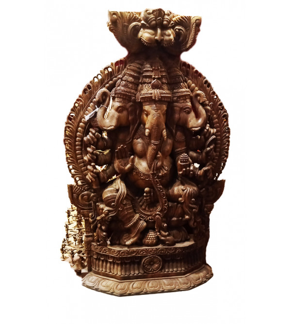 80X48X12 3 FACE GANESH IN VAGHAI WOOD