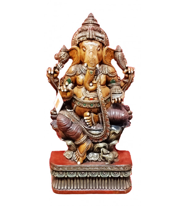 37X18X7 INCH GANESH  IN VAGHAI WOOD PAINTED