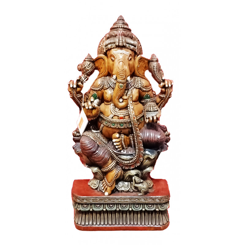 Ganesha Handcrafted In Vaghai Wood Size 37X18X7 Inches