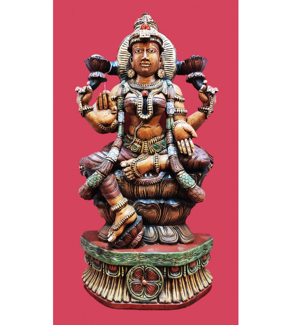 LAXMI  IN VAGHAI WOOD PAINTED 37X18X7 INCH
