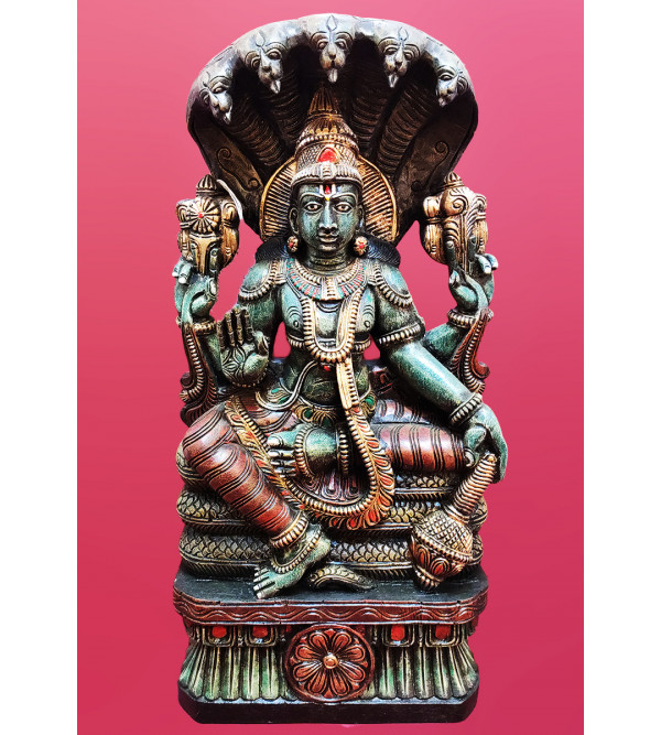 25X13X5 INCH ADISHESH FULL FIGURE IN VAGHAI WOOD PAINTED