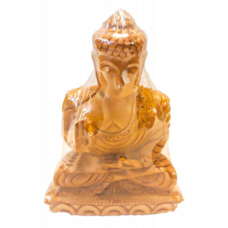 Kadamba Wood Handcrafted Carved Lord Buddha Figure