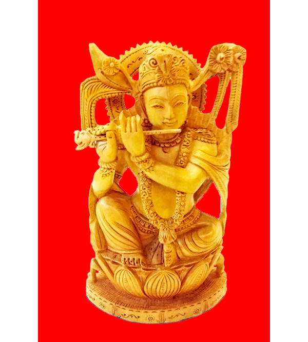 GOD FIGURE CARVED KADAM WOOD  KRISHNA 9 INCH 9 INCH