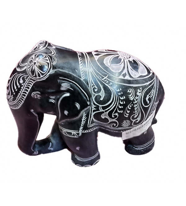 Elephant Handcrafted In Black Stone Size 7 Inches